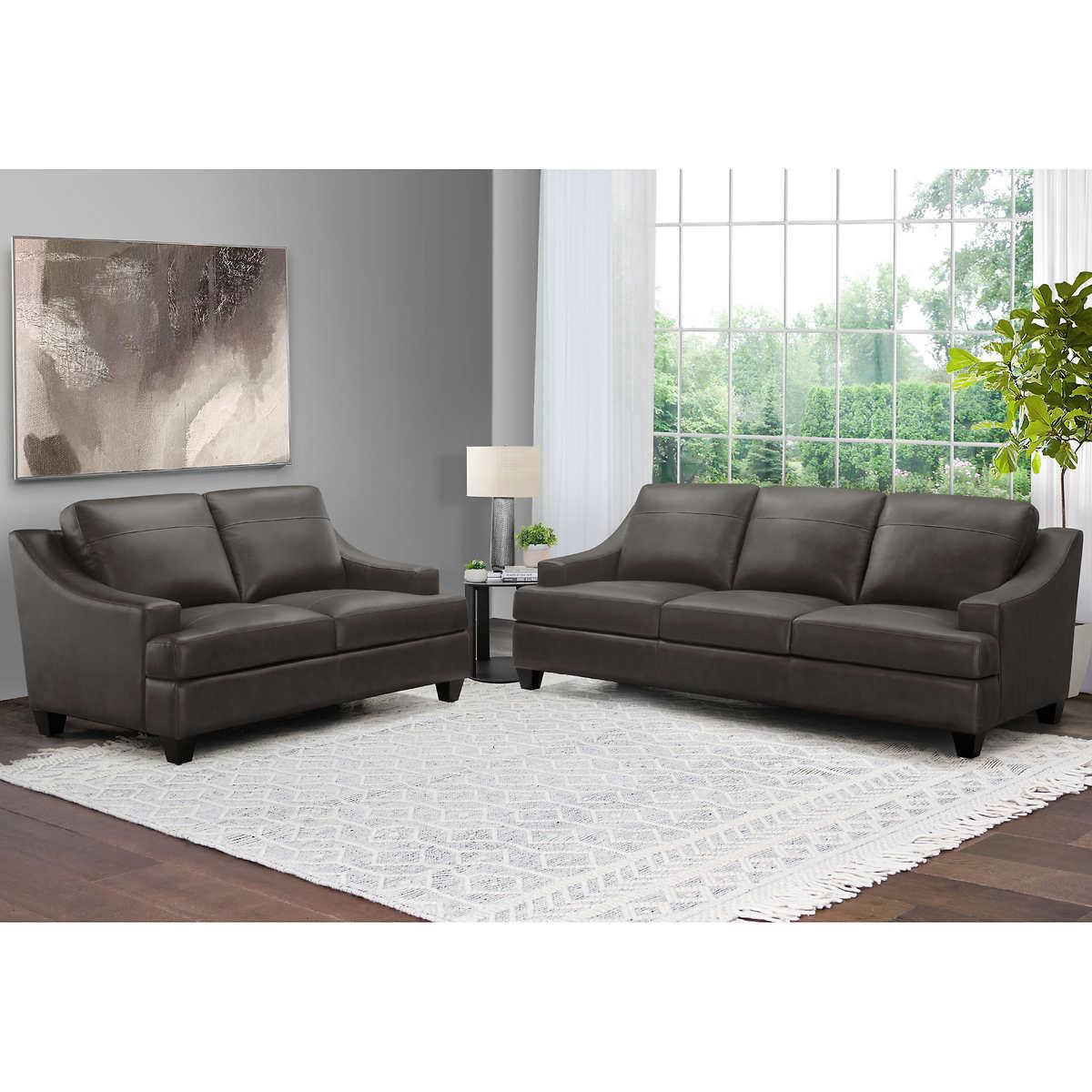Merona 2 Piece Leather Sofa And Loveseat Set