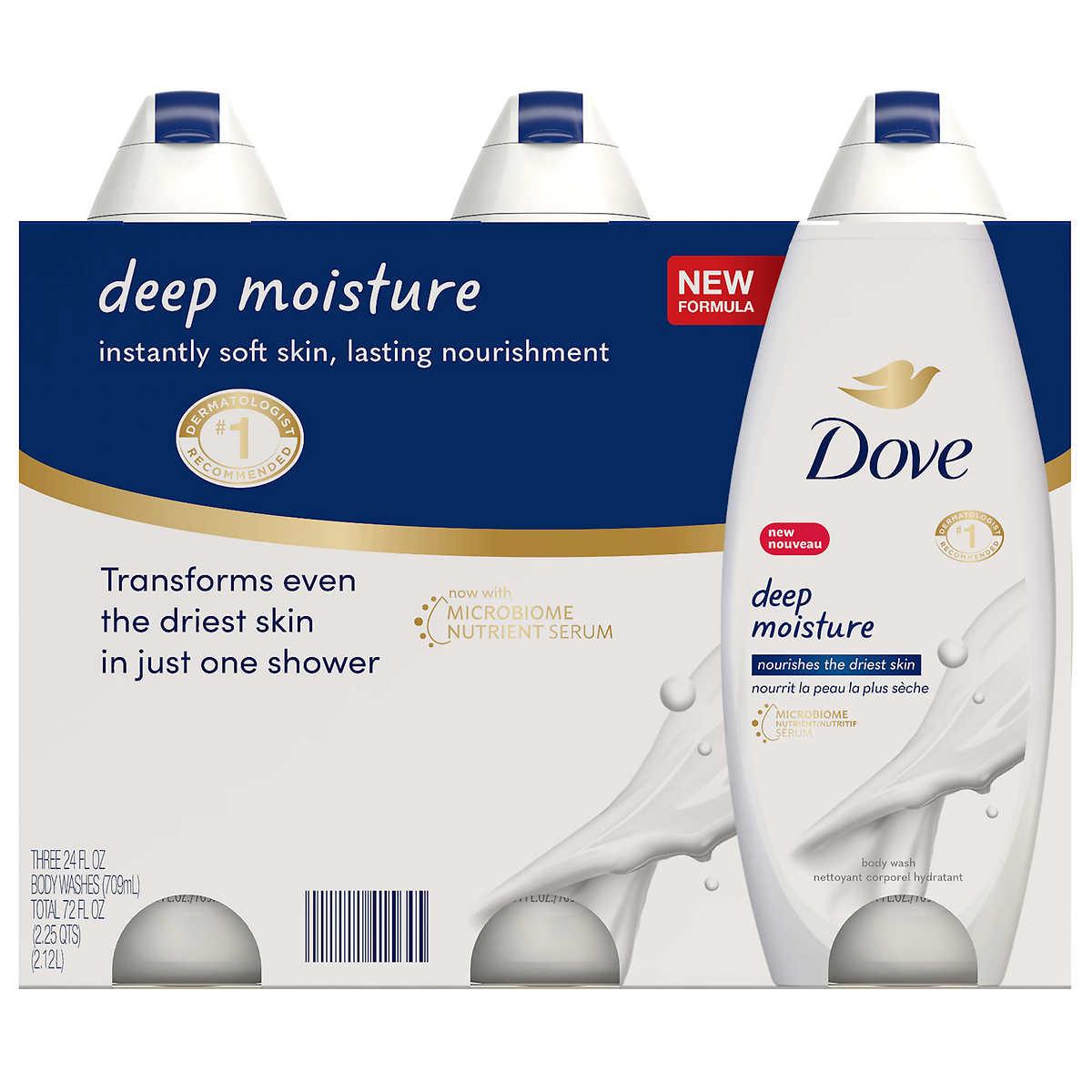 Dove Deep Moisture Bodywash 24 Oz 3 Pack