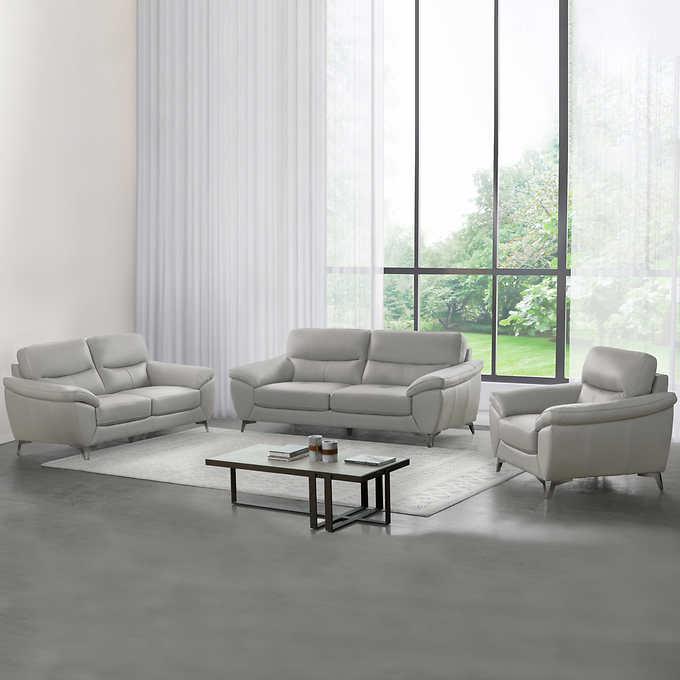 Cadence 3 Piece Top Grain Leather Set, 3 Piece Living Room Set
