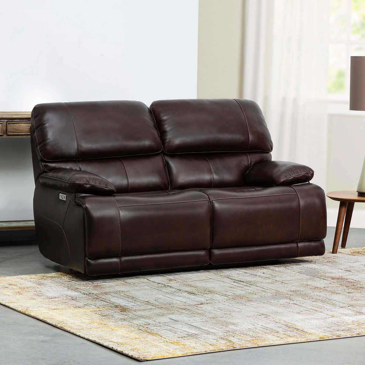 Aleena Leather Power Reclining Loveseat With Power Headrest