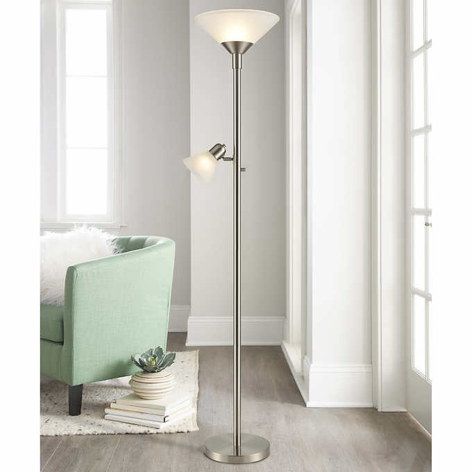 Torchiere Floor Lamp With Reading Light, Torchiere Floor Lamp With Shelves
