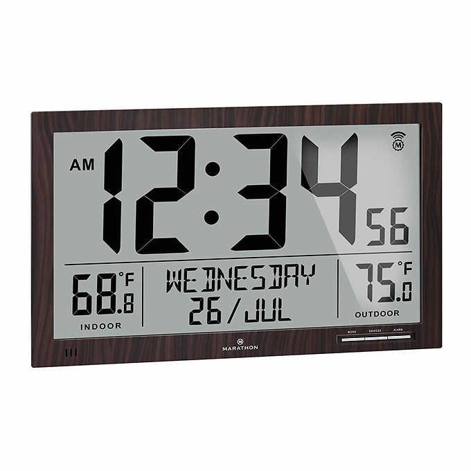 Marathon Atomic Full Calendar Clock, Best Rated Atomic Clock With Indoor Outdoor Temperature