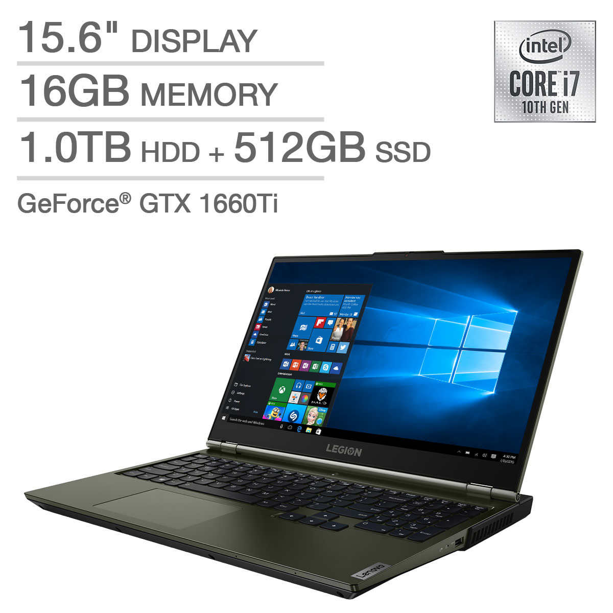 Lenovo Legion 5 15 6 Gaming Laptop 10th Gen Intel Core I7 10750h Geforce Gtx 1660ti 144hz 1080p Display Moss Green