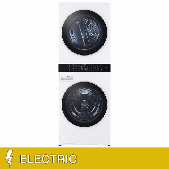 Lg Washtower Single Unit Electric With Center Control 4 5 Cu Ft Front Load Washer And 7 4 Cu Ft Dryer