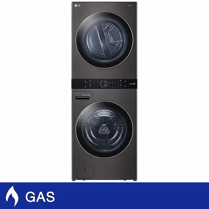 Lg Single Unit Gas Washtower With Center Control 4 5 Cu Ft Front Load Washer And 7 4 Cu Ft Dryer