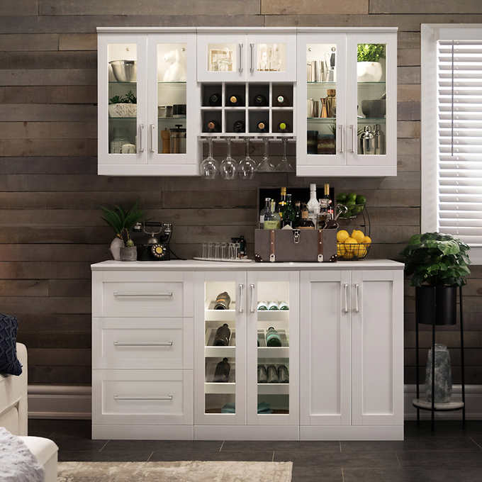Home Wine Bar Cabinet 7 Piece Set With Short Wall Cabinets By Newage Products Costco