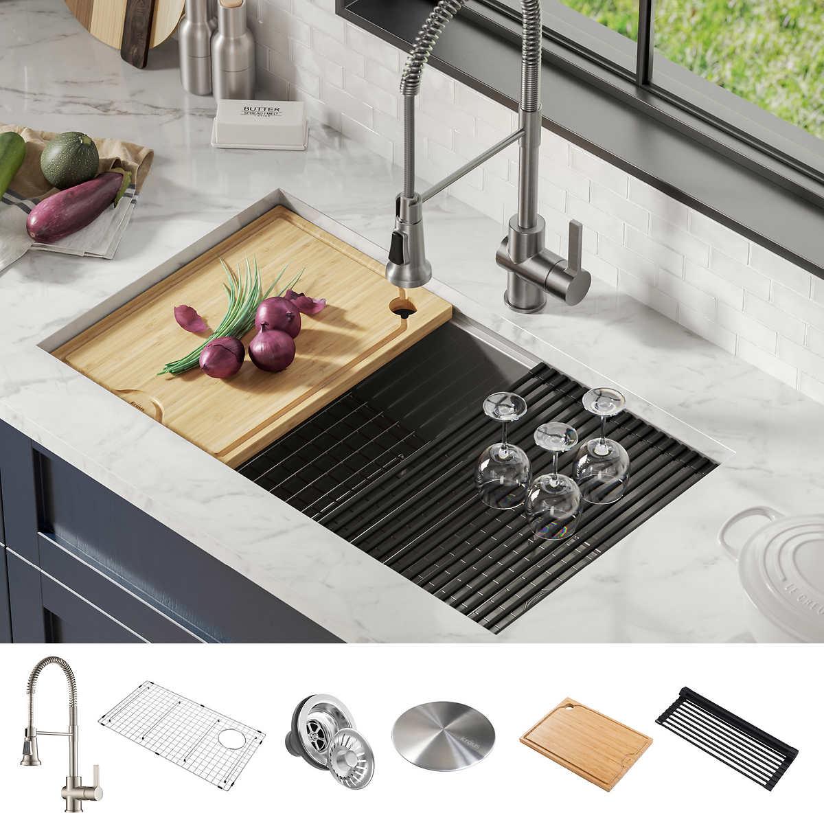 Kraus Workstation Undermount Single Bowl Stainless Steel Kitchen Sink Combo