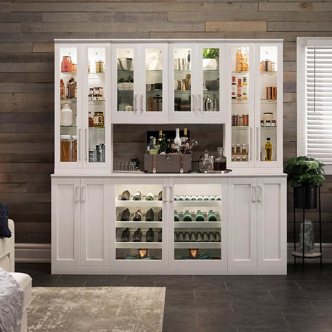 Home Wine Bar Cabinet 8 Piece Set With Tall Wall And Short Wall Cabinets By Newage Products