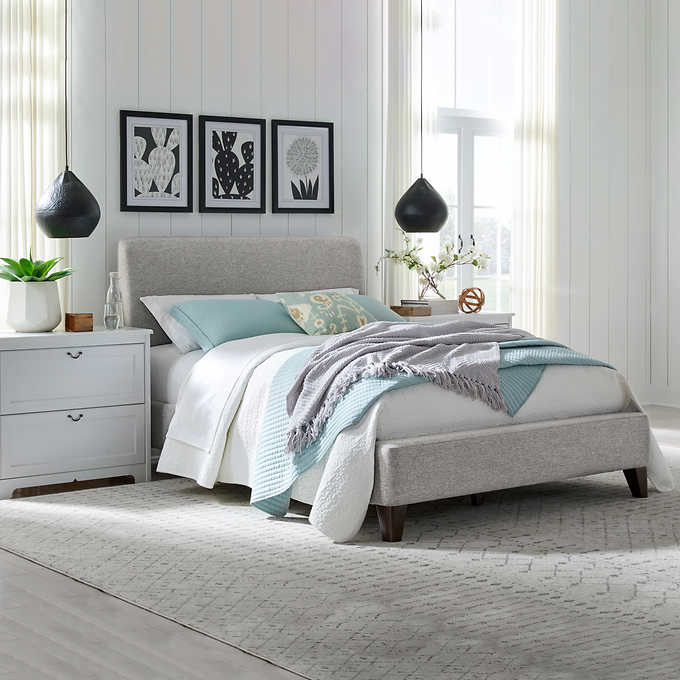 Cecelia Queen Upholstered Bed Costco, Upholstered Bed Frame Queen White
