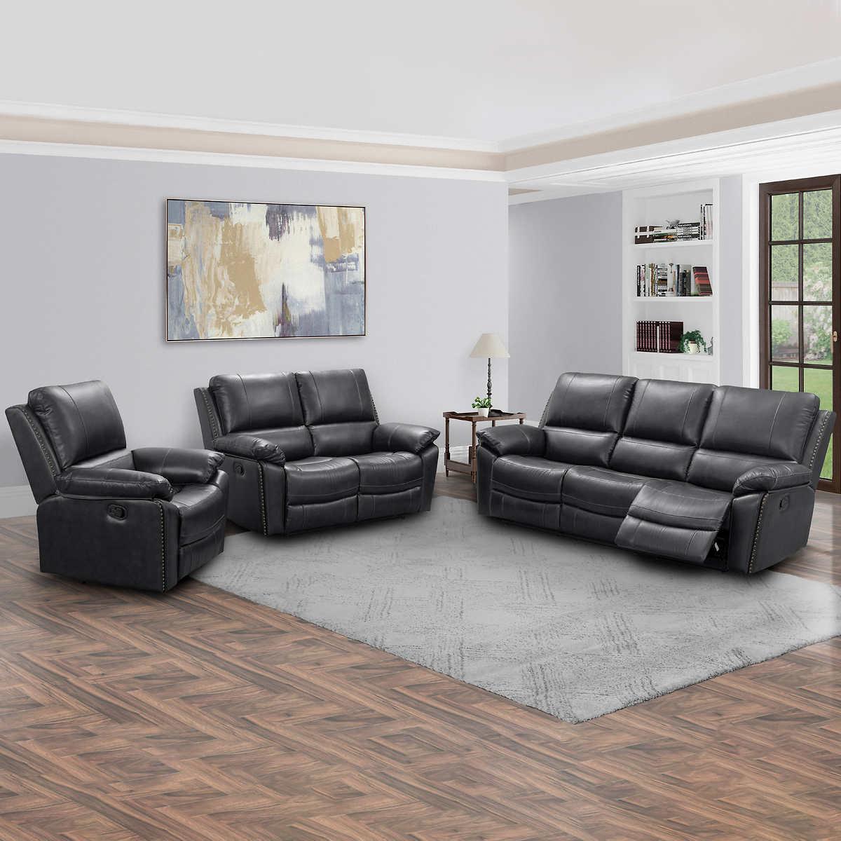 Soldano 3 Piece Leather Reclining Set