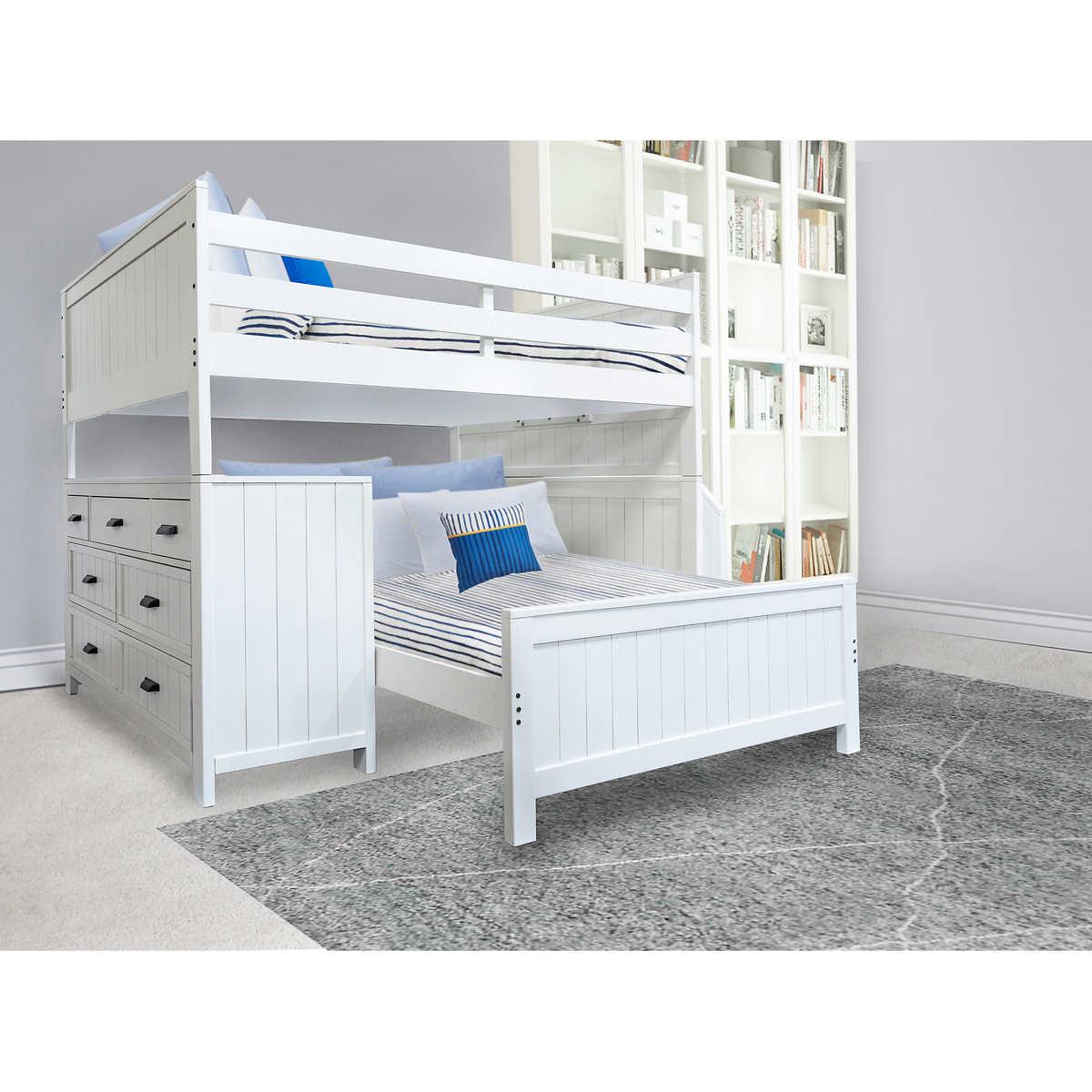 Caramia Kids Alex Full Over Full Loft Bunkbed With 7 Drawer Dresser