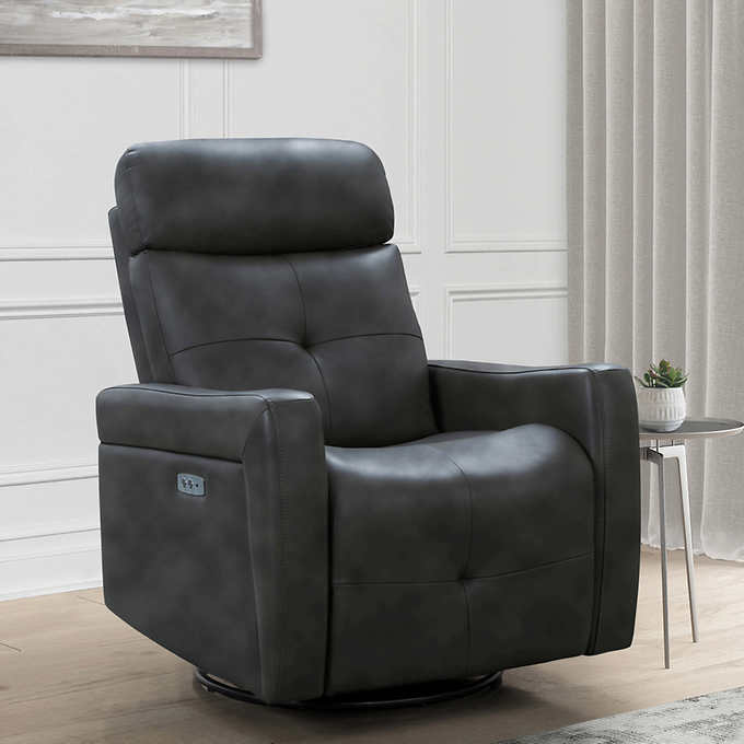 Rochester Leather Power Swivel Glider, Club Chair Recliner Swivel