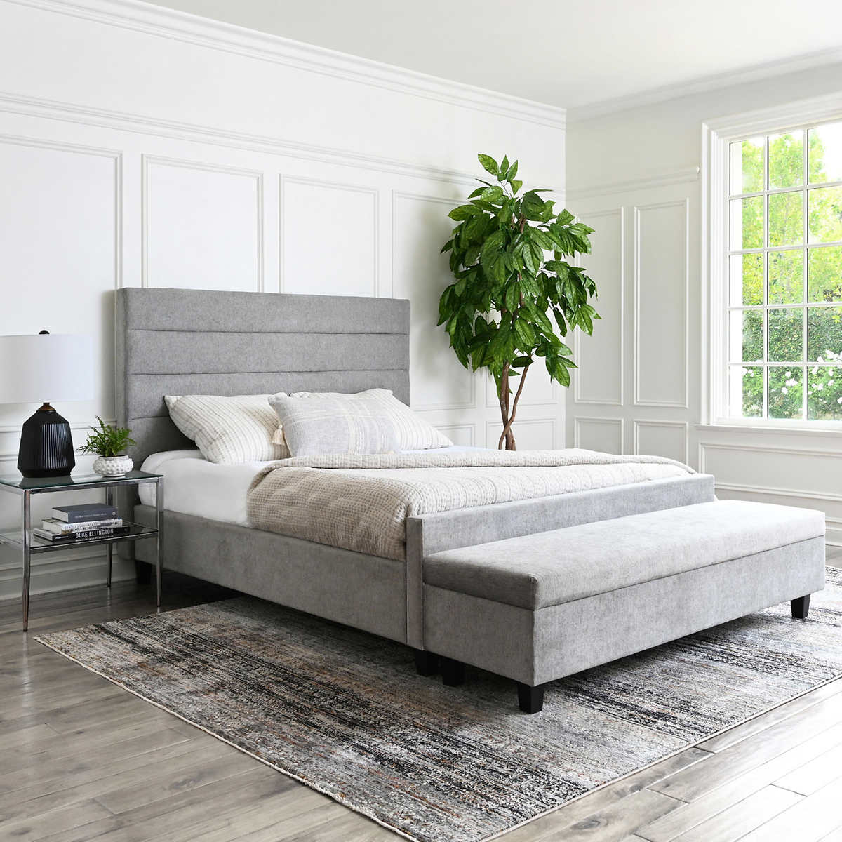 Athena Upholstered Queen Bed And Ottoman