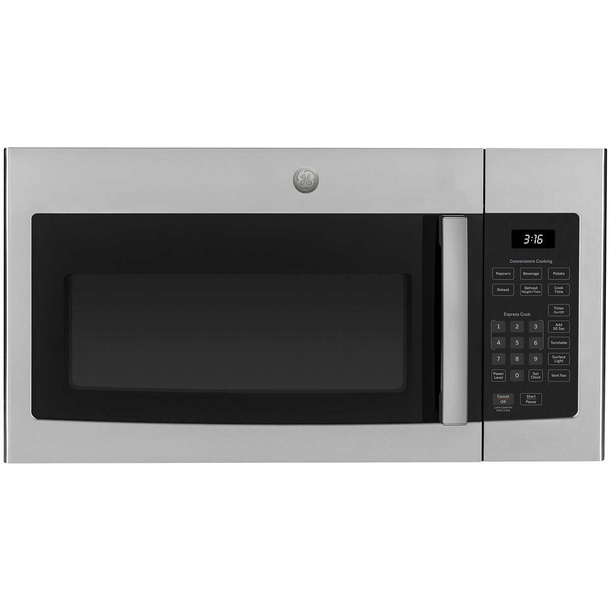 ge 1 6 cu ft over the range microwave oven with cooktop lighting and 300 cfm exhaust fan