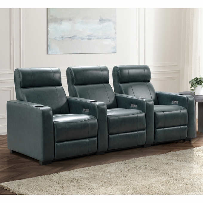 Melbourne 3 Piece Leather Power Reclining Home Theater Seating