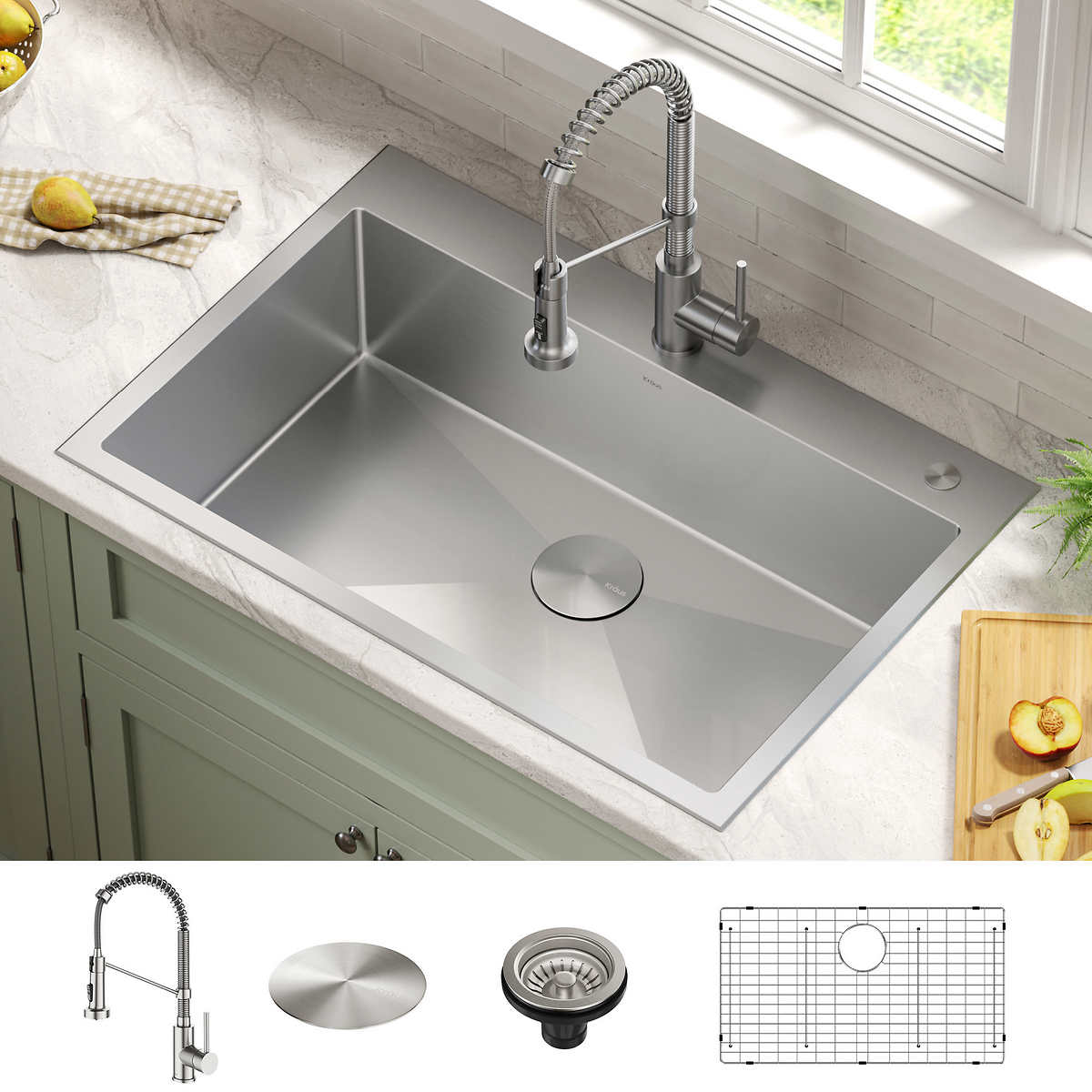 Kraus 33 Dual Mount Stainless Steel Kitchen Sink And Faucet Combo Costco