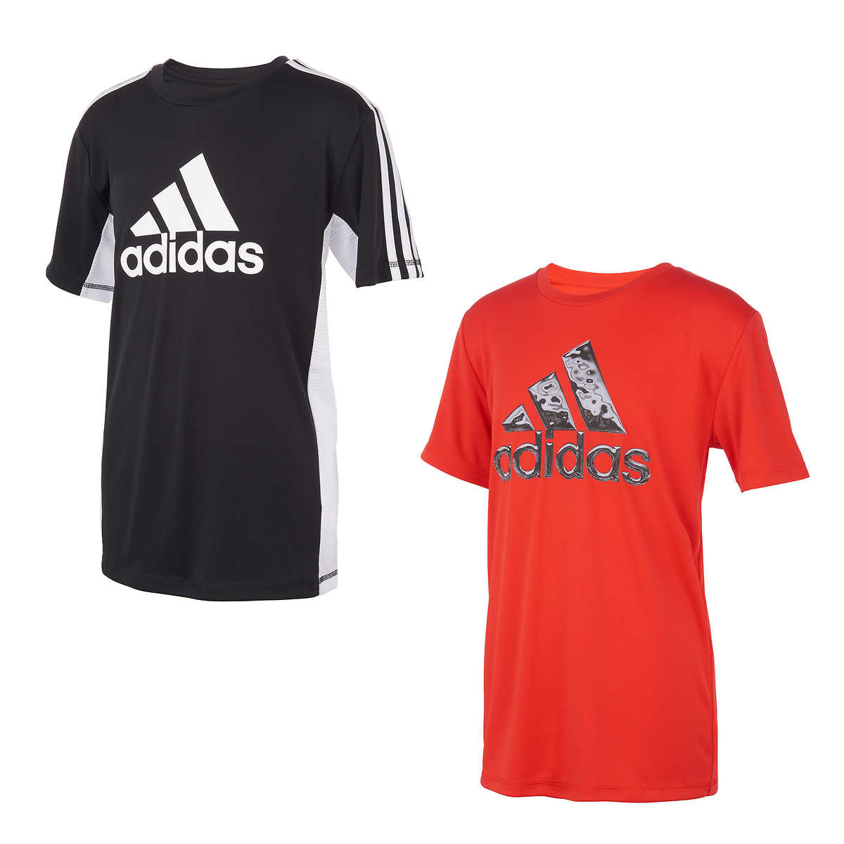 adidas Youth 2-pack Performance Tee, Black and Red | Costco