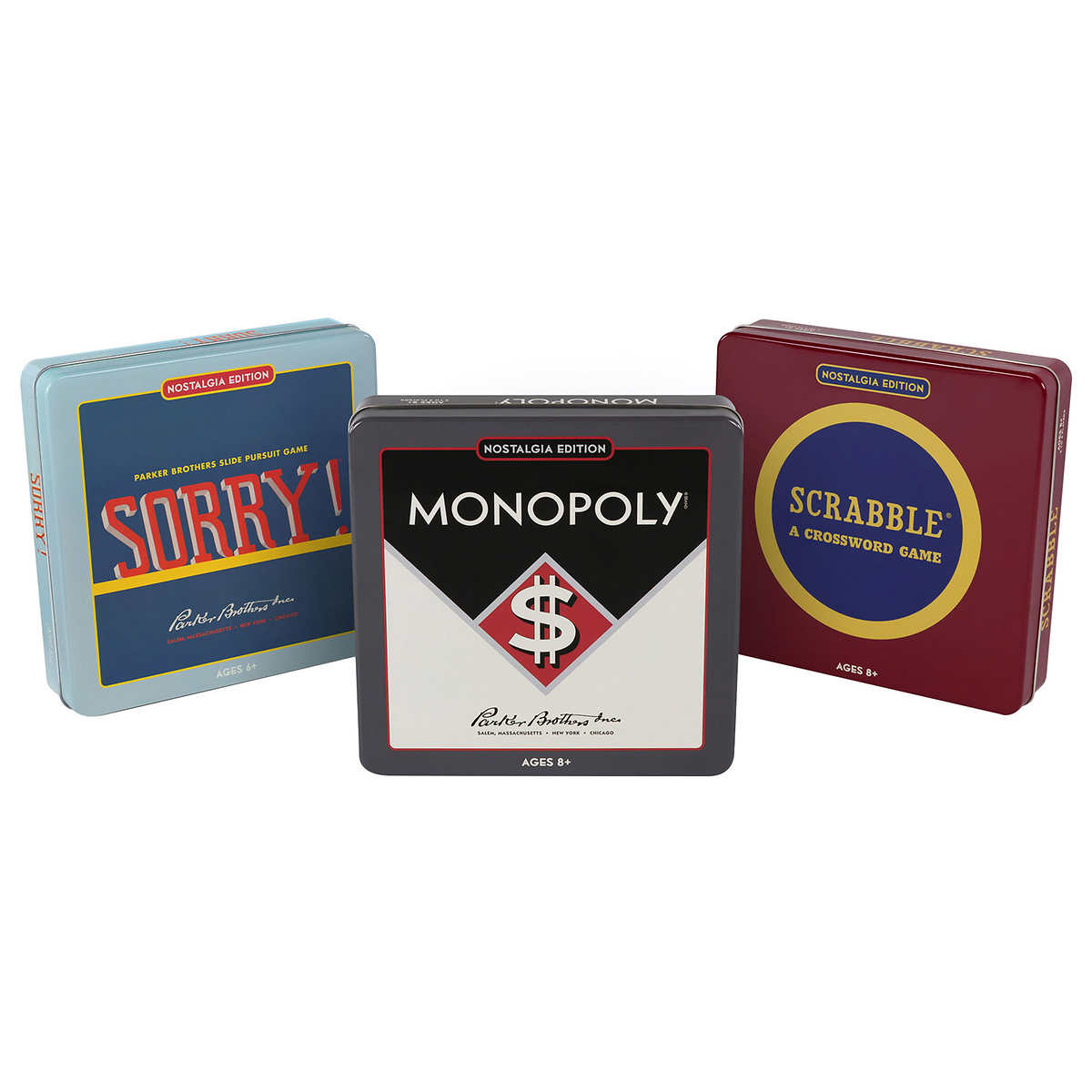 Monopoly Scrabble And Sorry Nostalgia Tin Game 3 Pack Costco