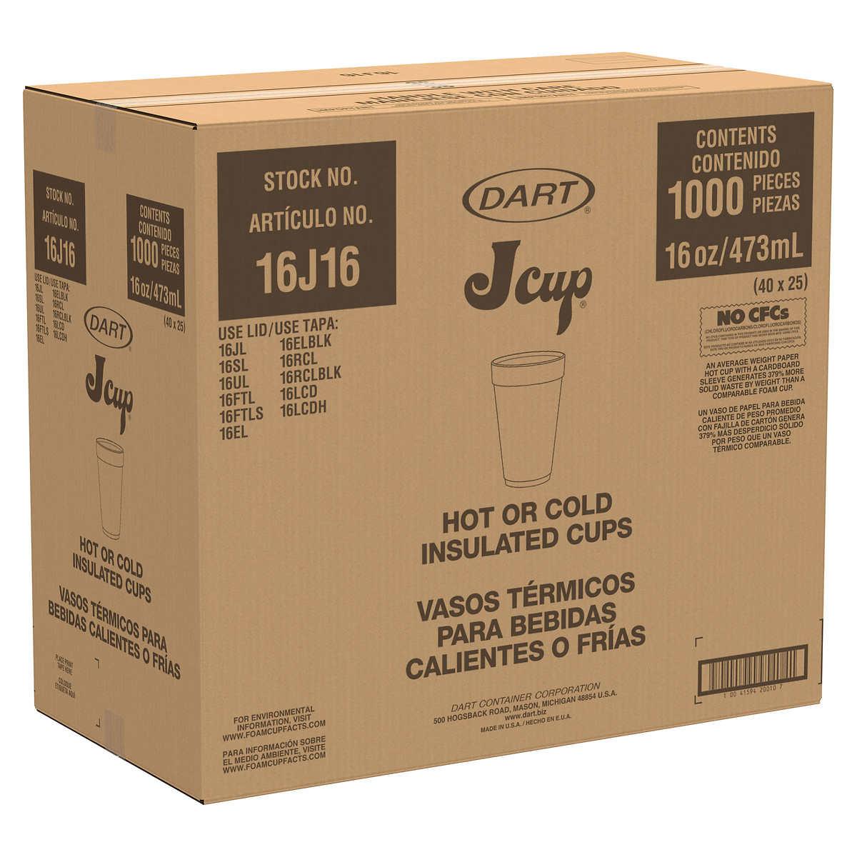 Dart Foam Cup 16 Oz 1000 Count