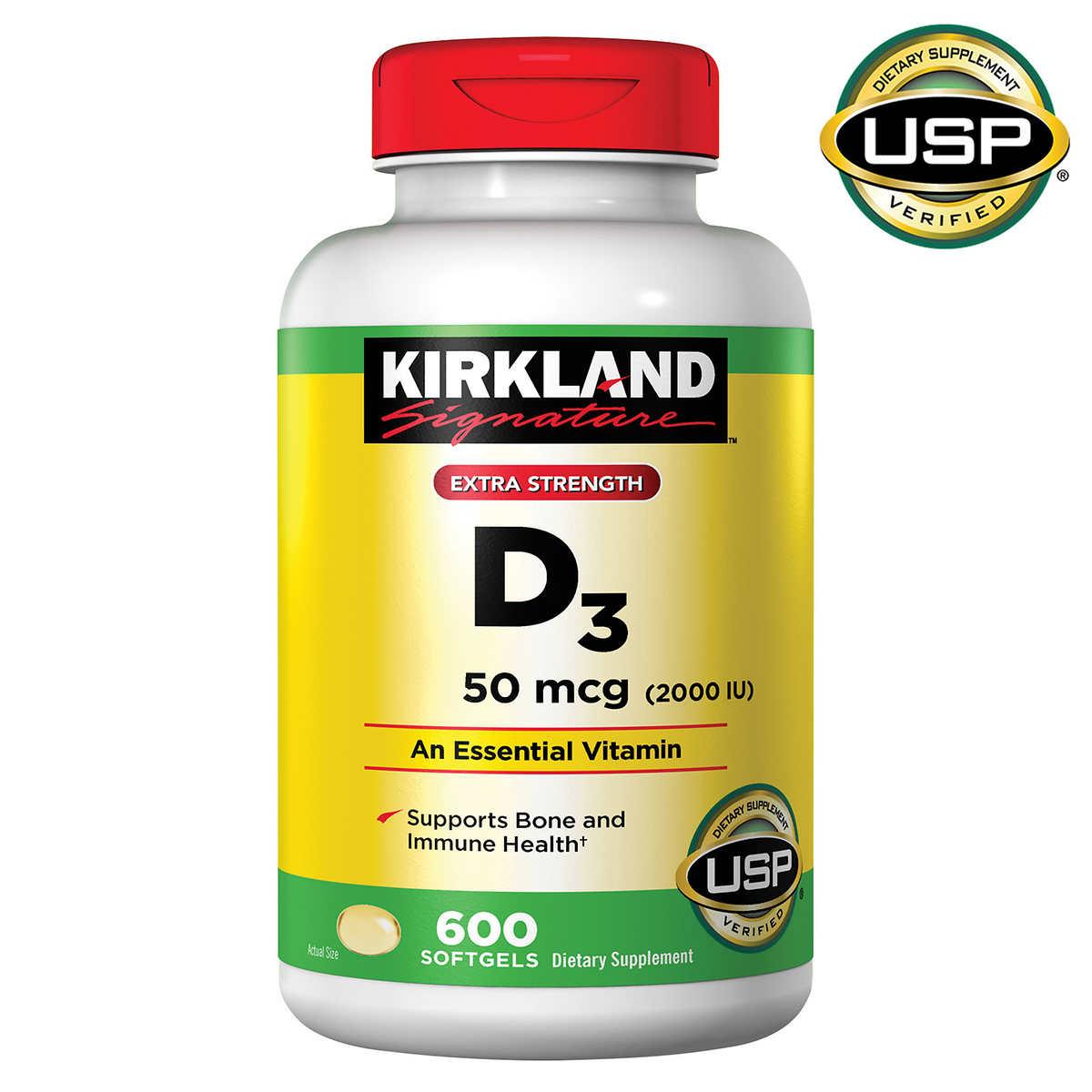 Kirkland Signature Extra Strength D3 50 Mcg 600 Softgels
