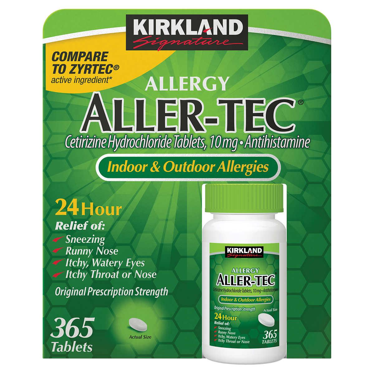 Kirkland Signature Aller Tec 365 Tablets