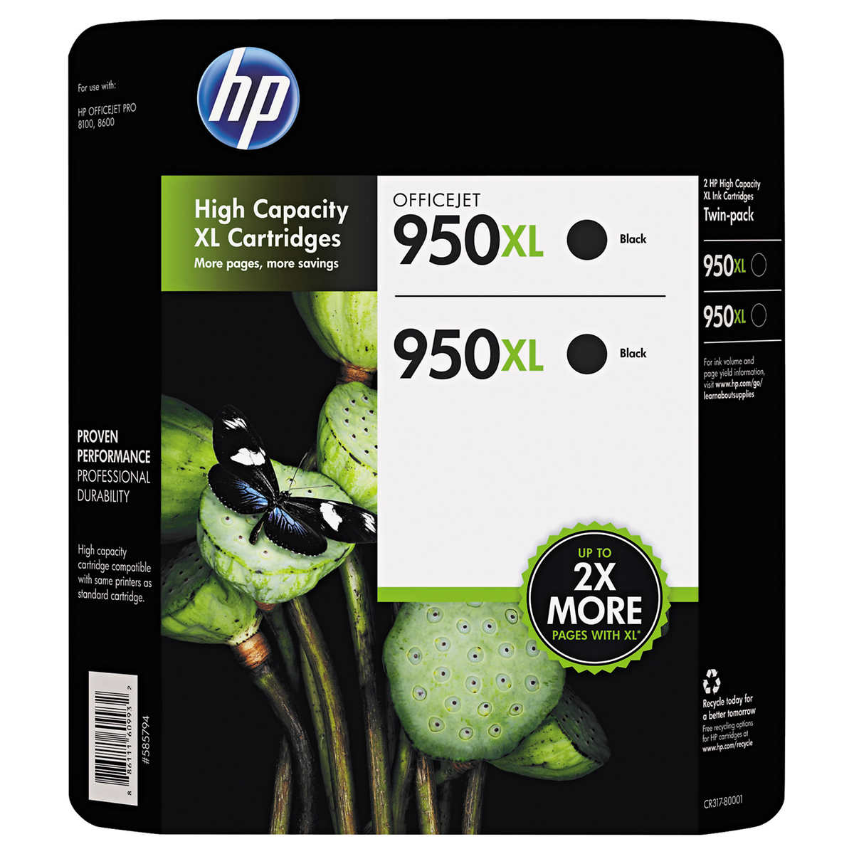 2,300 Pages 2 Pack Smart Print Supplies Compatible 950XL 950XL High Yield Ink Cartridge Replacement for HP OfficeJet Pro 251DW 276DW MFP Printers