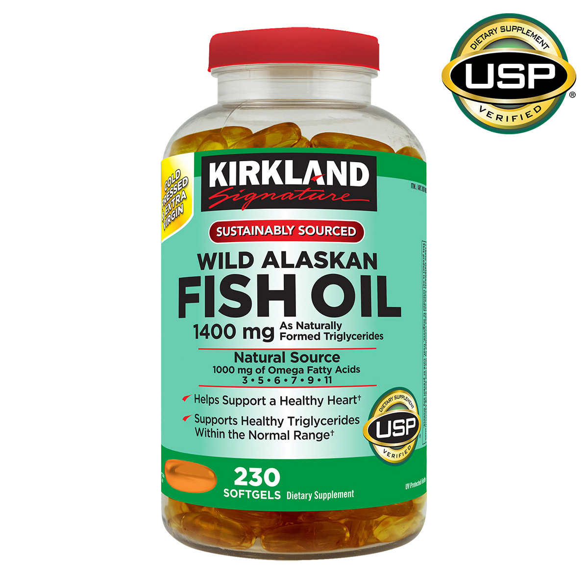 Kirkland Signature Wild Alaskan Fish Oil 1400 Mg 230 Softgels