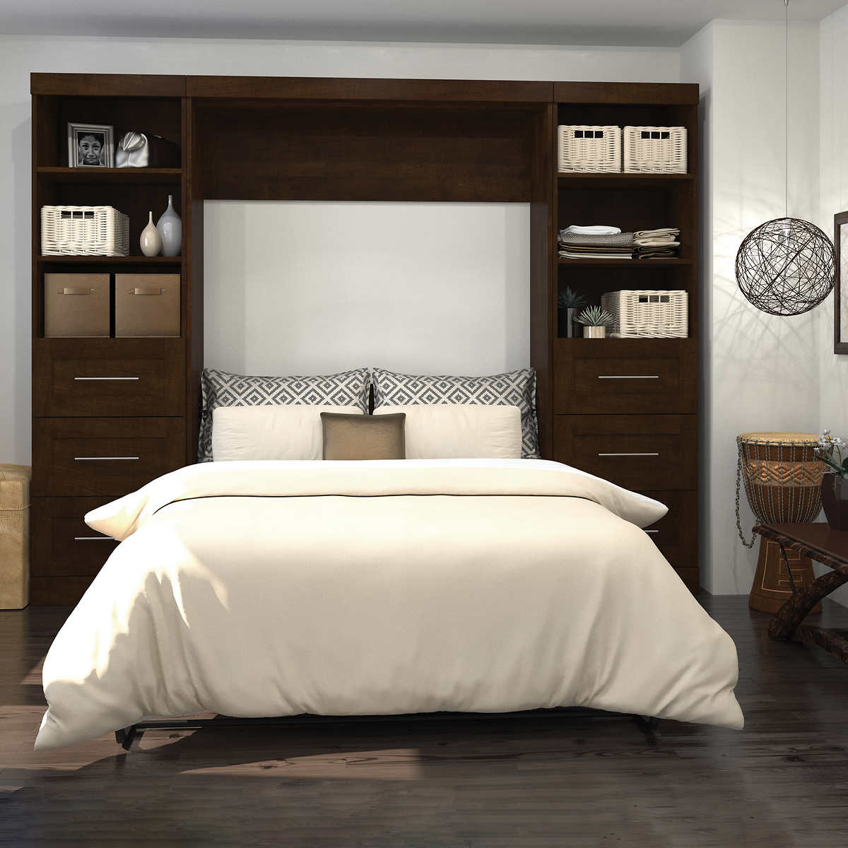 Boutique Full Wall Bed With Two 25 Storage Units And Drawers In Brown Costco