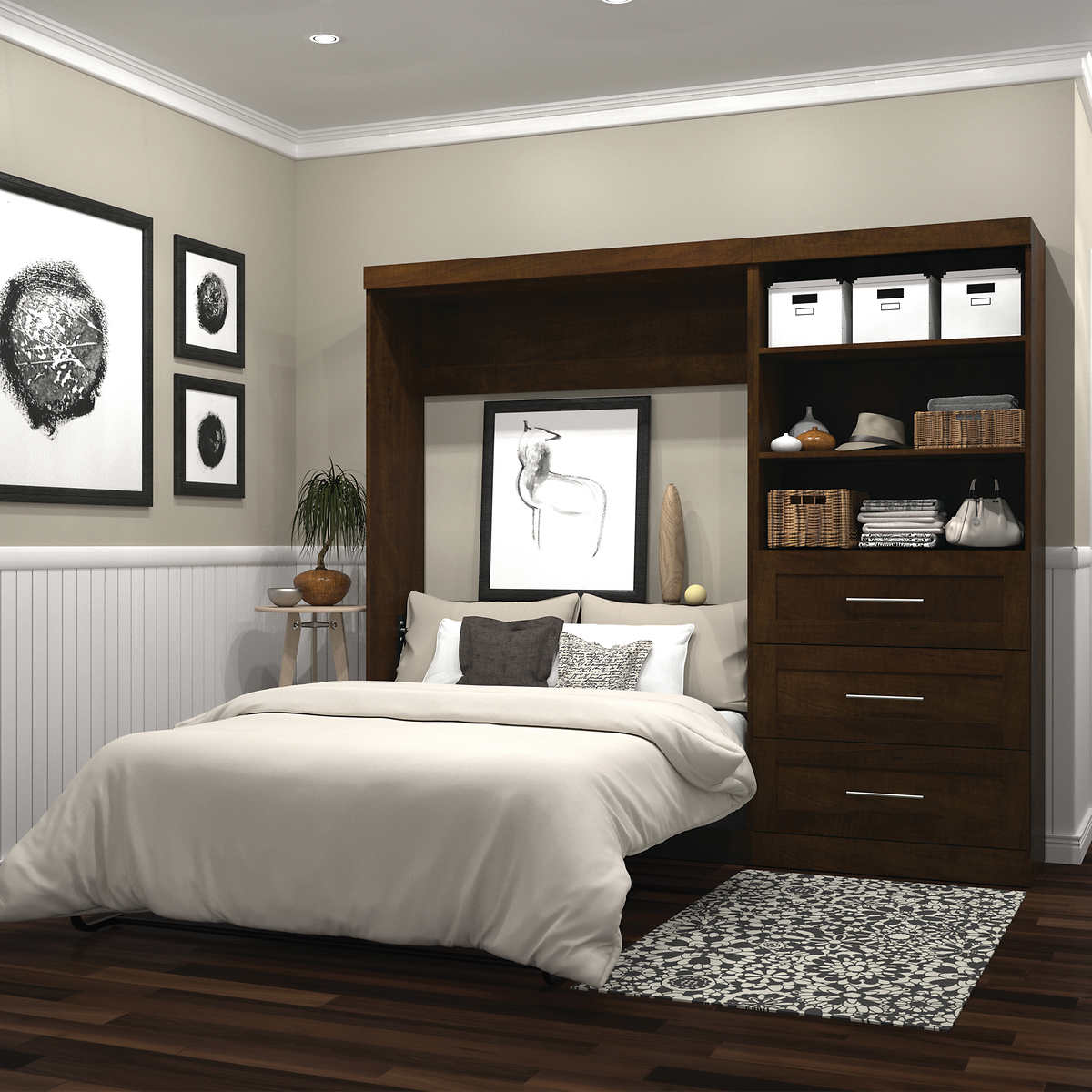 "Boutique Full Wall Bed with 10"" Storage Unit in Brown"