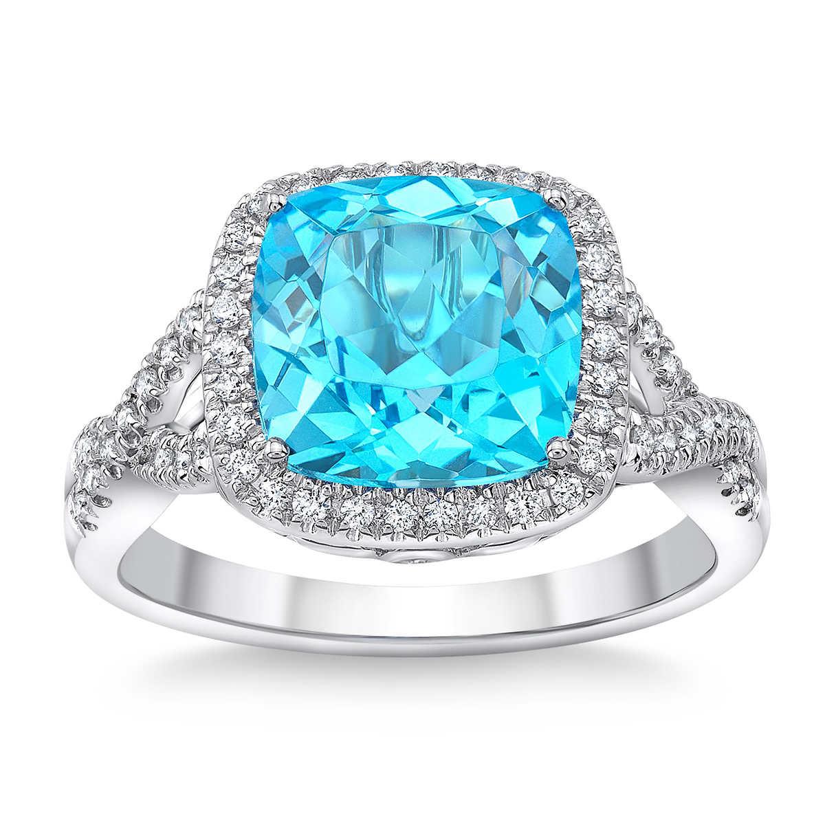 Blue Topaz And Diamond 14kt White Gold Ring