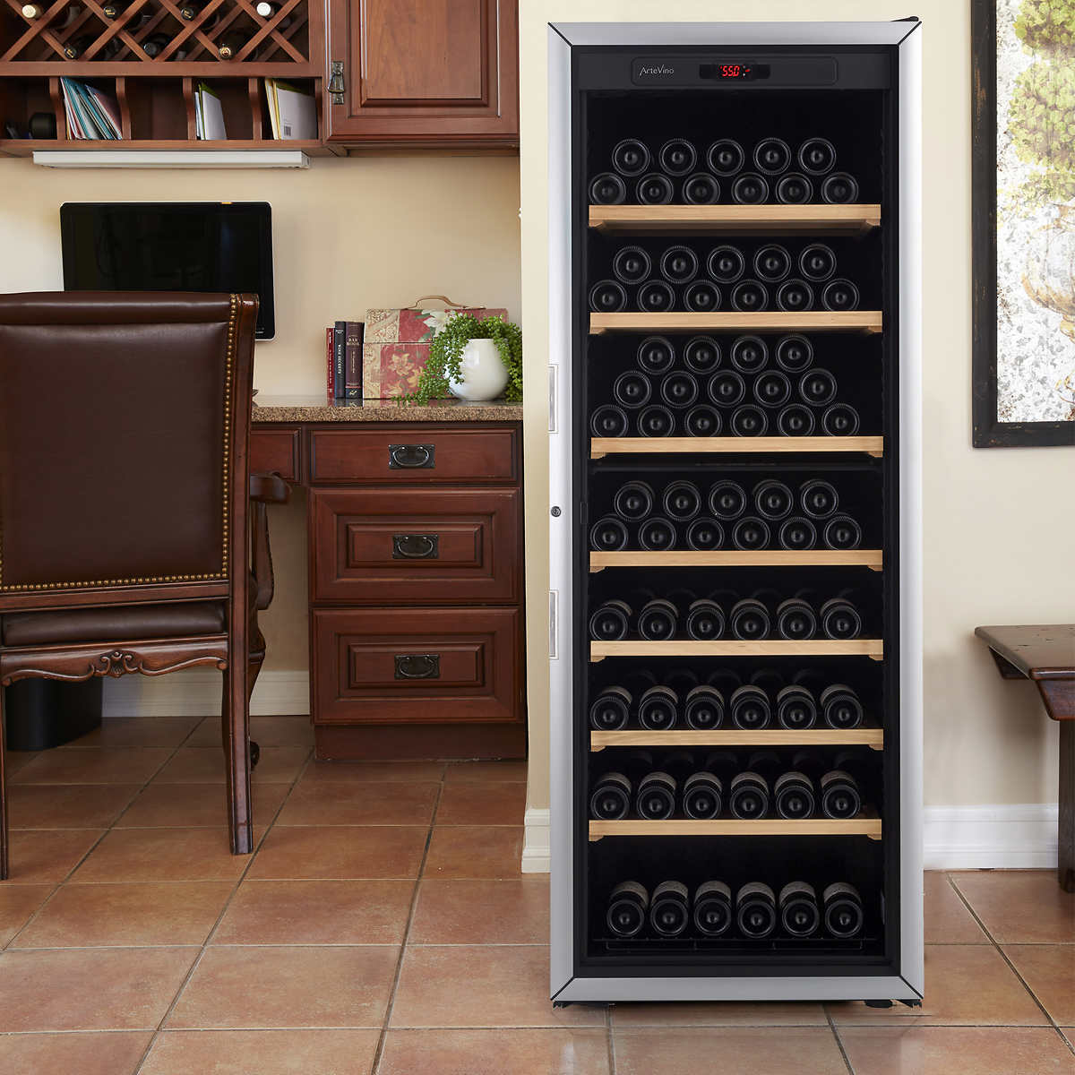 artevino ii by eurocave 200 bottle free standing single zone wine cellar arched table top wine cellar furniture