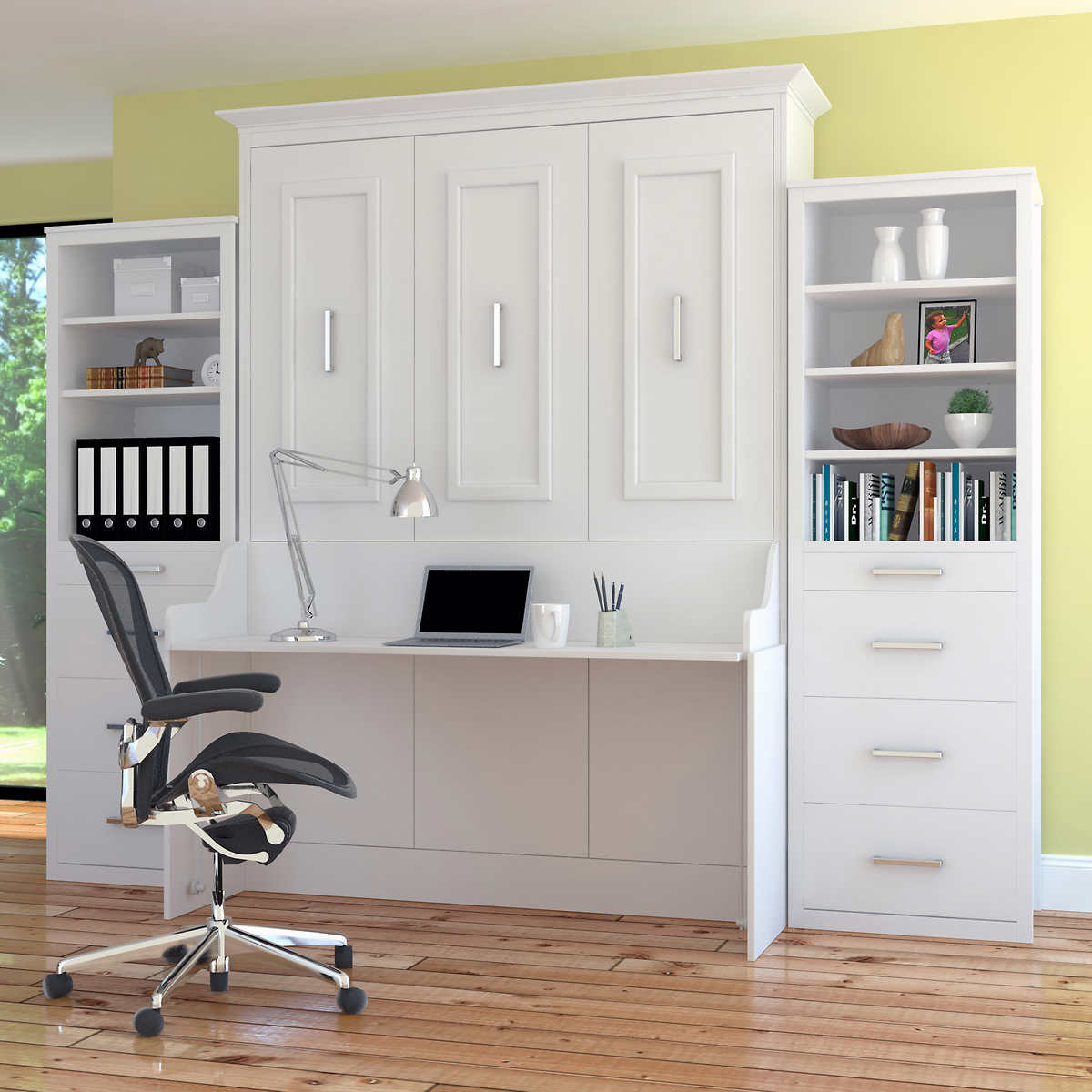 Bed Room Porter Queen Portrait Wall Bed With Desk And Two Side Towers In White