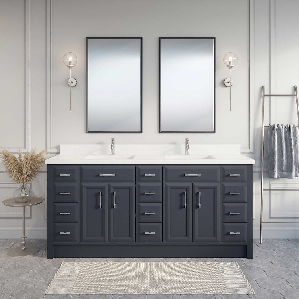 Calais 75 Pepper Gray Double Sink Vanity By Studio Bathe