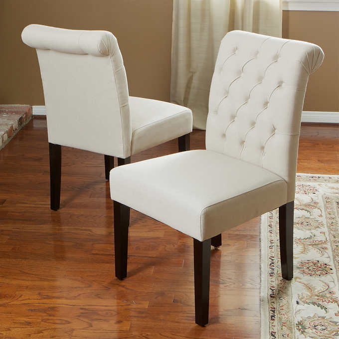 Broxton Dining Chair 2 Pack Costco, White Linen Dining Room Chairs