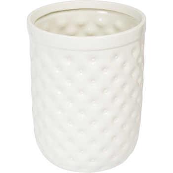 Embossed porcelain bath accessories waste bin for Ceramic bathroom bin