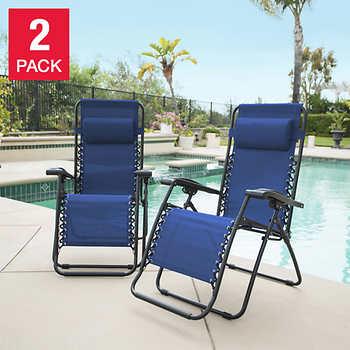 Zero gravity reclining outdoor lounge chair 2 pack - Costco zero gravity recliner ...