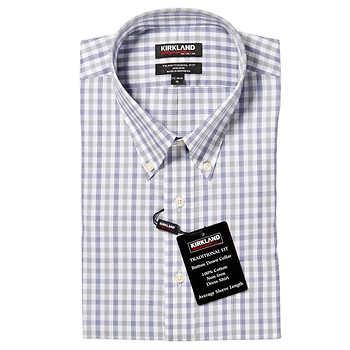 Kirkland Signature Men 39 S Button Down Dress Shirt Gray Blue
