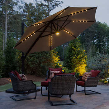 11 39 led solar offset umbrella by seasons sentry