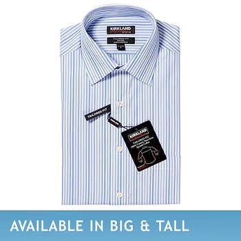 Kirkland Signature Men 39 S Tailored Fit Dress Shirt Blue Stripe