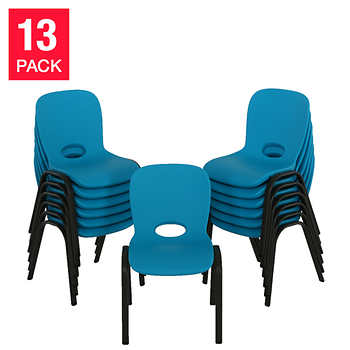 Lifetime kids stacking chair 13pk blue for Kids chair with name