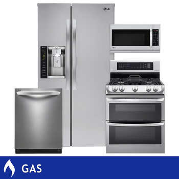 Lg 4 Piece Gas Stainless Steel 26cuft Side By Side Large Capacity Kitchen Suite Lsxs26326s