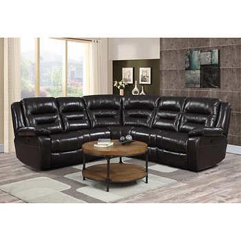 Garrison 5 piece top grain leather modular reclining sectional for 5 piece modular sectional sofa costco