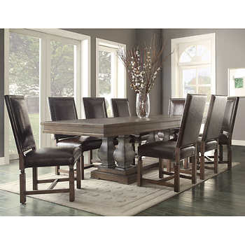 parador 9 piece dining set bonded leather