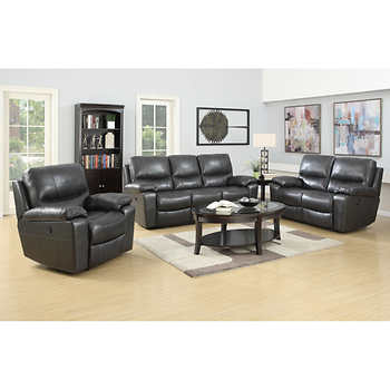 Leland 3 piece top grain italian leather power reclining set for 3 piece sectional sofa costco