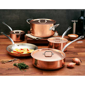 mauviel m heritage copper with stainless steel interior 9pc cookware set. Black Bedroom Furniture Sets. Home Design Ideas