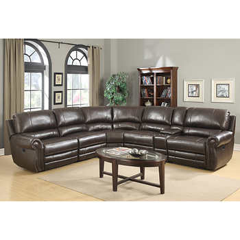 Baxter 6 piece top grain leather reclining modular sectional for 6 piece living room set