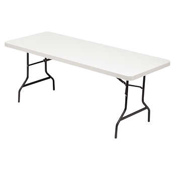 Alera folding banquet table 72 x 29 platinum - Table pliante avec rangement chaise ...