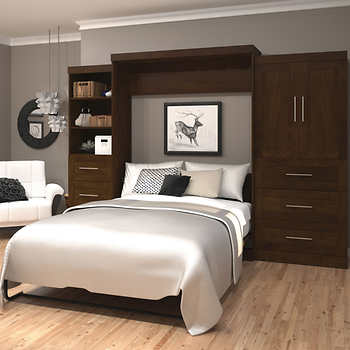 Boutique Queen Wall Bed With 25 And 36 Storage Units In Brown