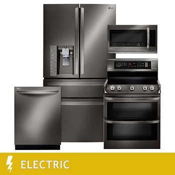 LG 4 Piece ELECTRIC 23CuFt Counter Depth 4 Door French Door Kitchen Suite In