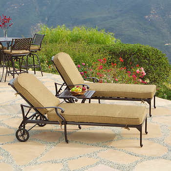 pescadero 3 pc patio chaise lounge set. Black Bedroom Furniture Sets. Home Design Ideas